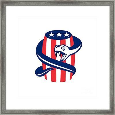 Viper Coiling Up Keg Usa Flag Retro Framed Print by Aloysius Patrimonio