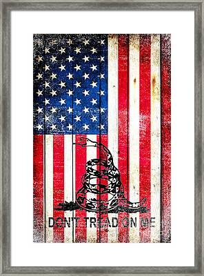 Viper On American Flag On Old Wood Planks Vertical Framed Print