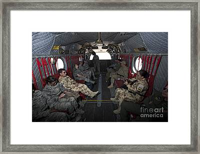 Vips In A Ch-47 Chinook Helicopter Framed Print by Terry Moore