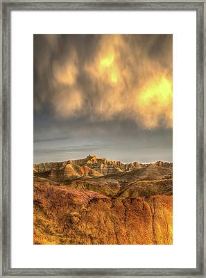 Virga Over The Badlands Framed Print