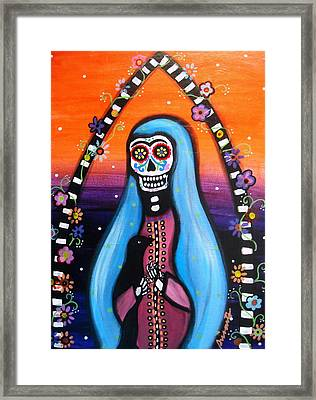 Framed Print featuring the painting Virgen Guadalupe Muertos by Pristine Cartera Turkus