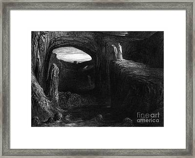 Virgil And Dante Entering Hell Framed Print by Gustave Dore