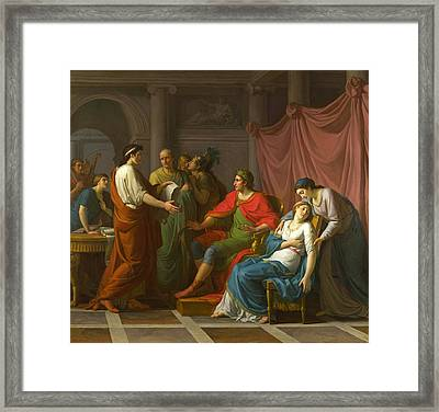 Virgil Reading The Aeneid To Augustus And Octavia Framed Print by Jean-Joseph Taillasson