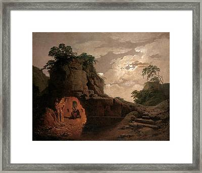 Virgil's Tomb By Moonlight With Silius Italicus Declaiming Framed Print by Joseph Wright of Derby