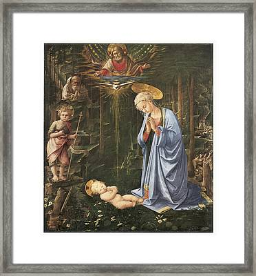 Virgin Adoring The Child Framed Print by Fra Filippo Lippi