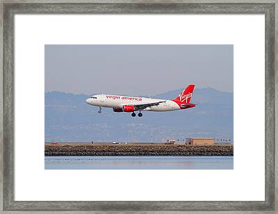 Virgin America Airlines Jet Airplane At San Francisco International Airport Sfo . 7d12180 Framed Print by Wingsdomain Art and Photography