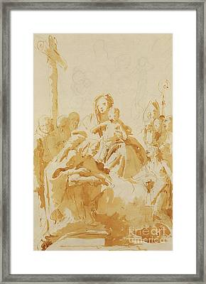 Virgin And Child Adored By Bishops, Monks And Women Framed Print by Tiepolo