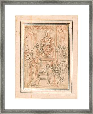 Virgin And Child Enthroned Framed Print by Celestial Images