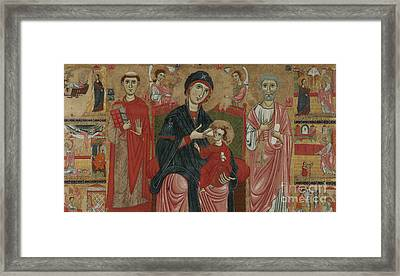 Virgin And Child Enthroned With Saints Leonard And Peter And Scenes From The Life Of Saint Peter Framed Print by Master of the Magdalen