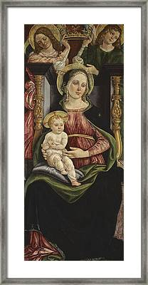 Virgin And Child Enthroned With Two Angels Holding A Crown Framed Print by Michele Ciampanti