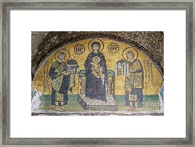 Virgin And Child Flanked By Justinian I And Constantine Mosaics Framed Print by Celestial Images