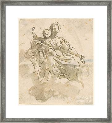 Virgin And Child In The Clouds Framed Print