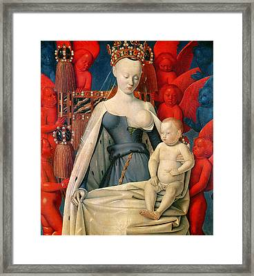Virgin And Child Surrounded By Angels Framed Print by Jean Fouquet
