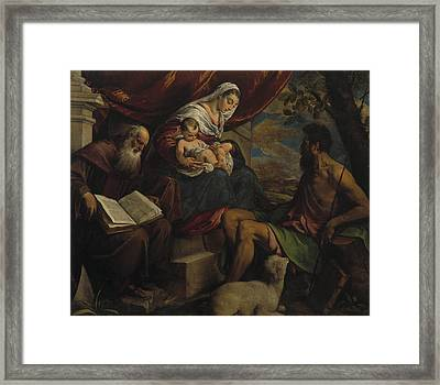 Virgin And Child With John The Baptist And Saint Anthony The Abbot Framed Print by Jacopo Bassano