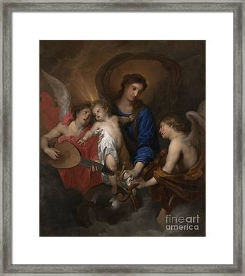 Virgin And Child With Music Making Angels Framed Print by Anthony Van Dyck