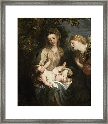 Virgin And Child With Saint Catherine Of Alexandria Framed Print by MotionAge Designs