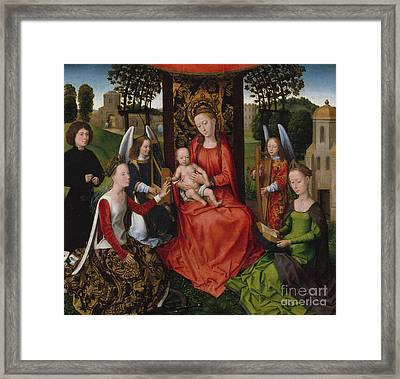 Virgin And Child With Saints Catherine Of Alexandria And Barbara, 1480 Framed Print by Hans Memling