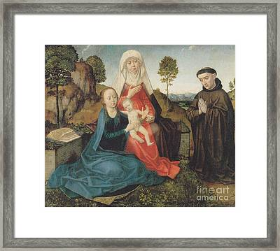 Virgin And Child With St. Anne And A Franciscan Donor Framed Print