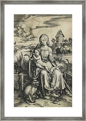 Virgin And Child With The Monkey Framed Print by Albrecht Durer