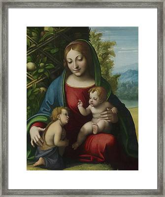 Virgin And Child With The Young Saint John The Baptist Framed Print by Correggio