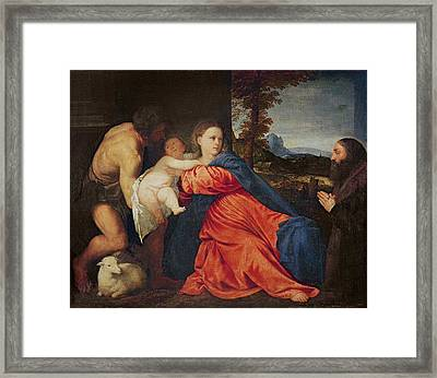 Virgin And Infant With Saint John The Baptist And Donor Framed Print by Titian
