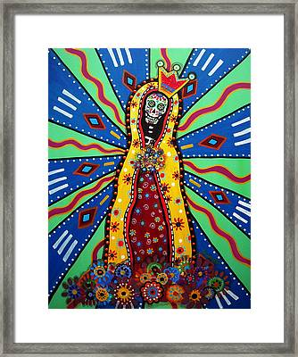 Virgin Guadalupe Day Of The Dead Painting Framed Print by Pristine Cartera Turkus