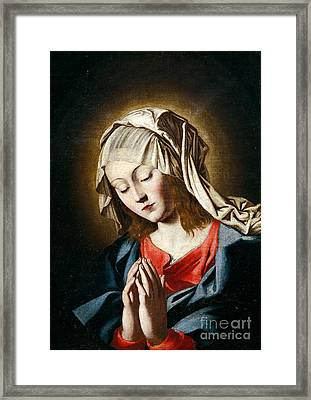 Virgin In Prayer Framed Print by Giovanni Battista Salvi da Sassoferrato