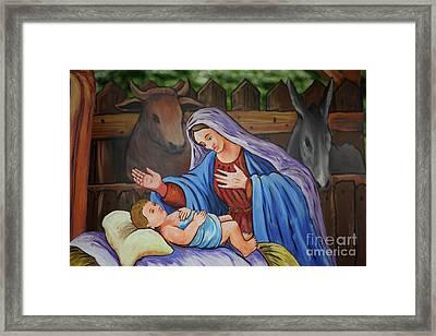 Virgin Mary And Baby Jesus Framed Print by Gaspar Avila
