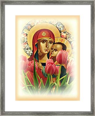 Virgin Mary And Tulips      Framed Print