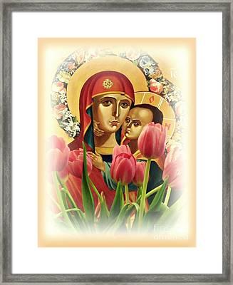 Virgin Mary And Tulips      Framed Print by Sarah Loft