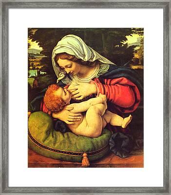 Virgin Mary Breastfeeding Jesus Framed Print by Magdalena Walulik