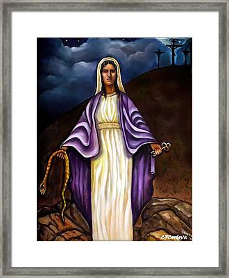 Virgin Mary- The Protector Framed Print by Carmen Cordova