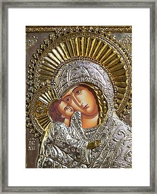 Virgin Mary With Child Jesus Greek Icon Framed Print