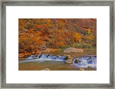 Virgin River In Autumn Framed Print by Dennis Hammer