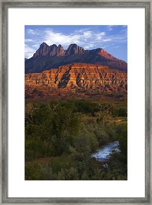 Virgin River Near Zion National Park Framed Print by Utah Images