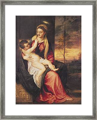 Virgin With Child At Sunset Framed Print by Titian