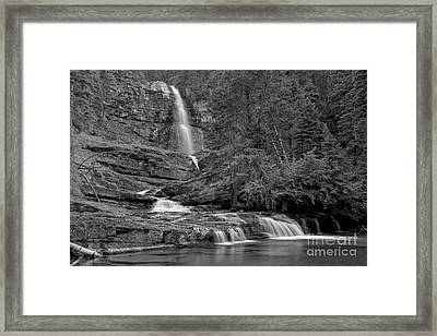Virgina Falls In The Pool - Black And White Framed Print by Adam Jewell