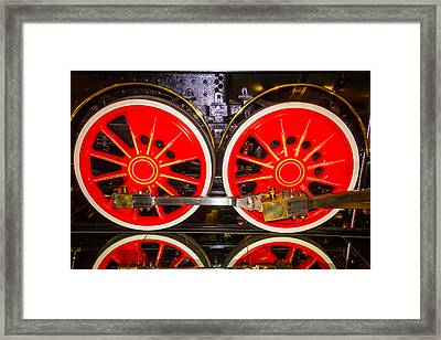 Virginia And Truckee Red Train Wheels Framed Print