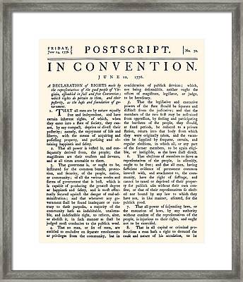 Virginia Constitution, 1776 Framed Print