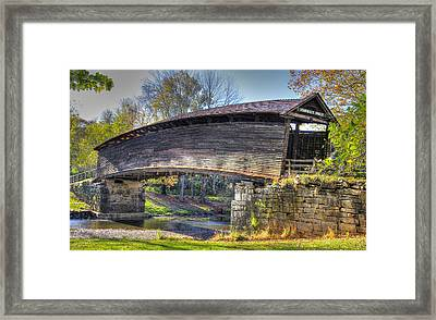 Virginia Country Roads - Humpback Covered Bridge Over Dunlap Creek No. 6a - Alleghany County Framed Print by Michael Mazaika