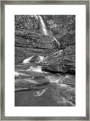 Virginia Falls Glacier Cascades - Black And White Framed Print by Adam Jewell