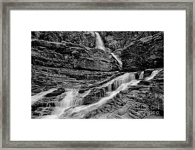 Virginia Falls Landscape - Back And White Framed Print by Adam Jewell