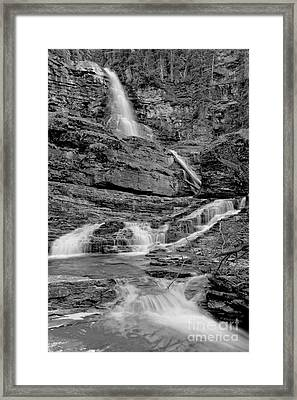 Virginia Falls Portrait - Black And White Framed Print by Adam Jewell