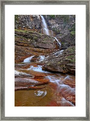 Virginia Falls Switchbacks Framed Print by Adam Jewell