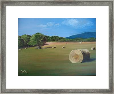 Framed Print featuring the painting Virginia Hay Bales by Donna Tuten