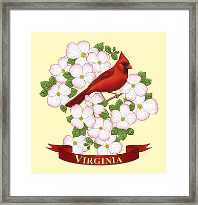 Virginia State Bird Cardinal And Flowering Dogwood Framed Print by Crista Forest