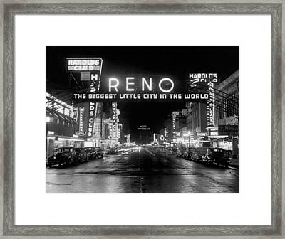 Virginia Street In Reno Framed Print by Underwood Archives