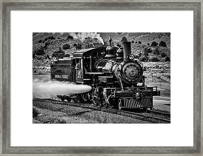 Virginia Truckee Train In Black And White Framed Print by Garry Gay