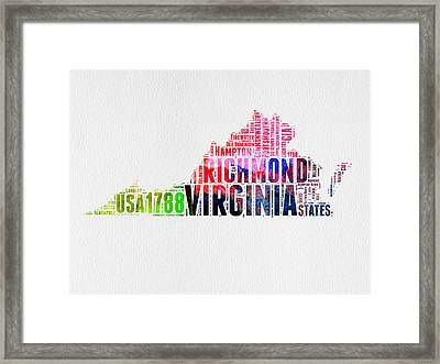 Virginia Watercolor Word Map Framed Print by Naxart Studio
