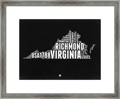 Virginia Word Cloud Black And White Map Framed Print by Naxart Studio